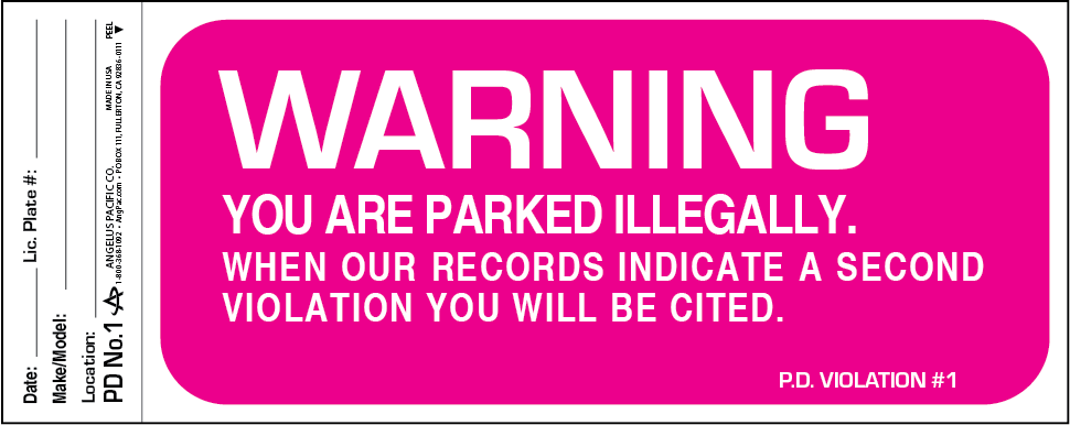 Paking Violation Warning Decal PD-NO.1 | Angelus Pacific