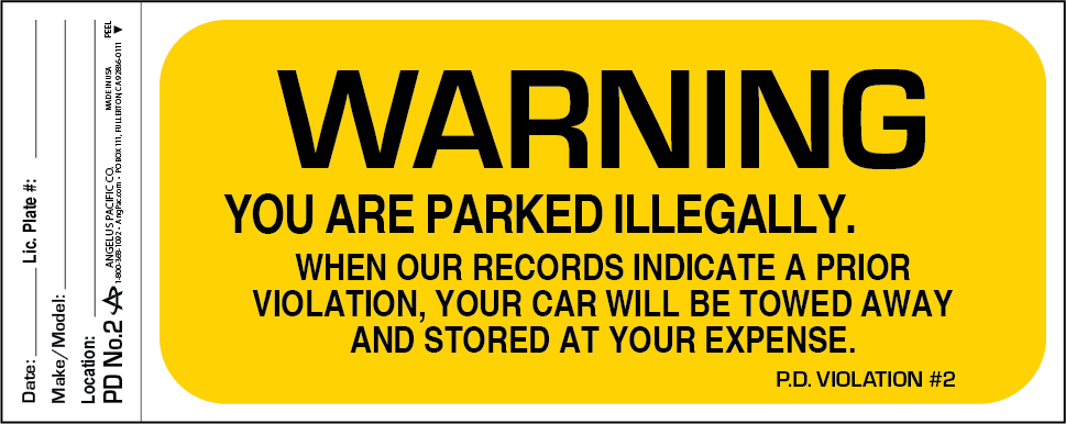 Parking Violation Warning Decals PD-No.2 | Angelus Pacific